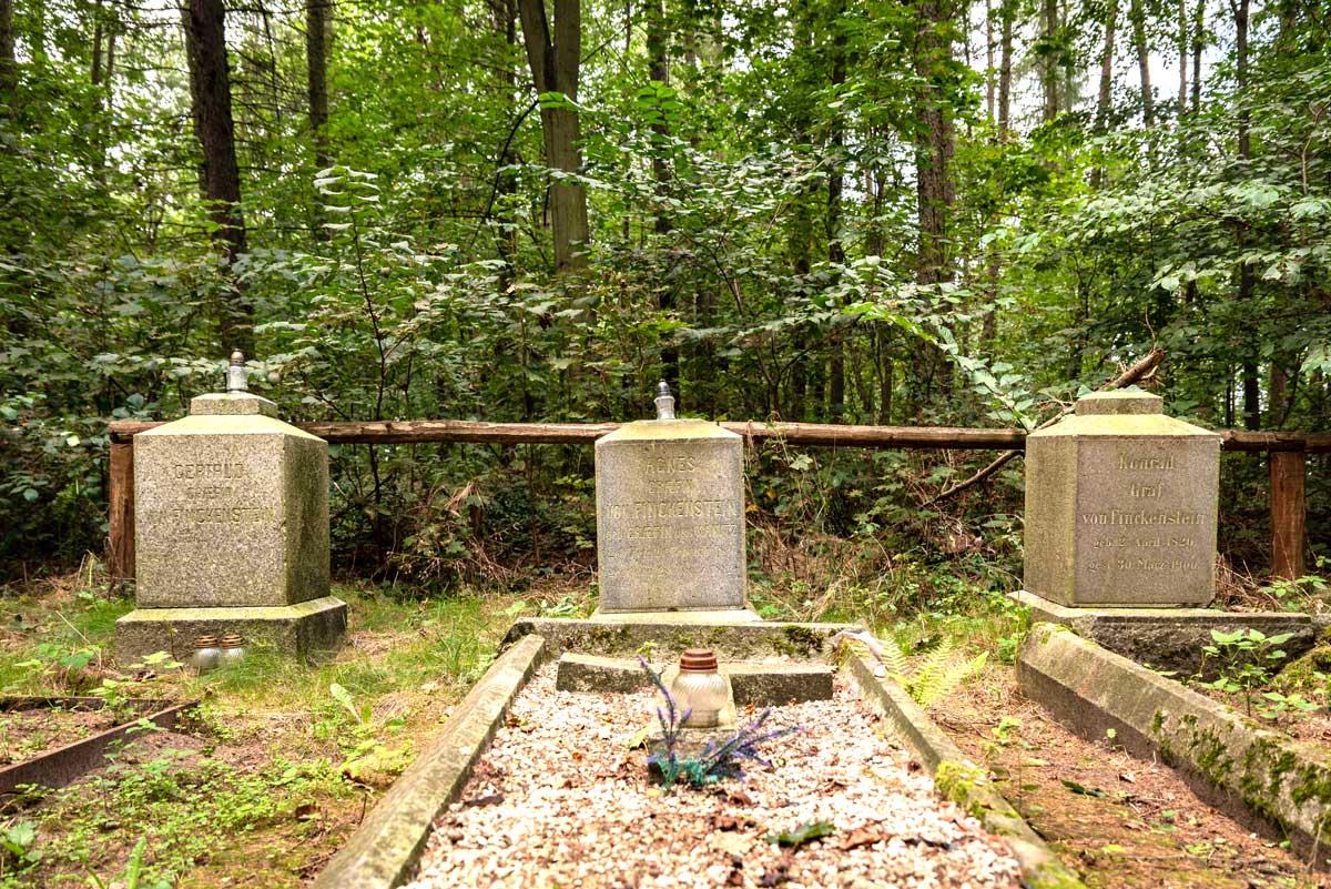 Zdjęcie współczesne, wykonane na częściowo odrestaurowanym cmentarzu rodziny von Finkenstein. Przedstawia 3 bryły nagrobkowe rodziny von Finkenstein. Bryły nagrobkowe mają kształt sześcianów ustawionych na niskim, nieco szerszym postumencie. Przed każdą bryłą znajduje się prostokątny zarys płyt nagrobnych, wykonany z betonowych elementów o przekroju trapezu. Przed środkową mogiłą, w obrębie zarysu płyty nagrobnej stoi jasny znicz. Za nagrobkami znajduje się prowizoryczne, drewniane ogrodzenie cmentarza, które zbudowane jest z drewnianych belek. Cmentarz otacza las.