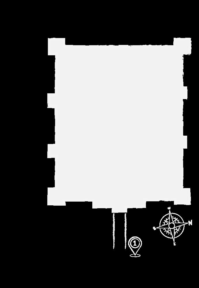 Rzut zamku ilustrujący mapę zwiedzania. Punkt 1 oraz 2 znajdują przy dolnym lewym rogu zamku. Punkt nr 1 znajduje się na wschodniej ścianie zamku i symbolizuje most arkadowy.