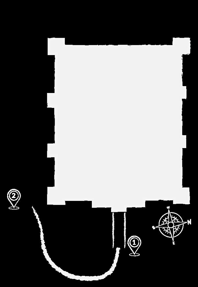 Rzut zamku ilustrujący mapę zwiedzania. Punkt 1 oraz 2 znajdują przy dolnym lewym rogu zamku. Punkt nr 1 znajduje się na wschodniej ścianie zamku i symbolizuje most arkadowy. Punkt numer 2 znajduje się na południowo wschodnim rogu zamku.
