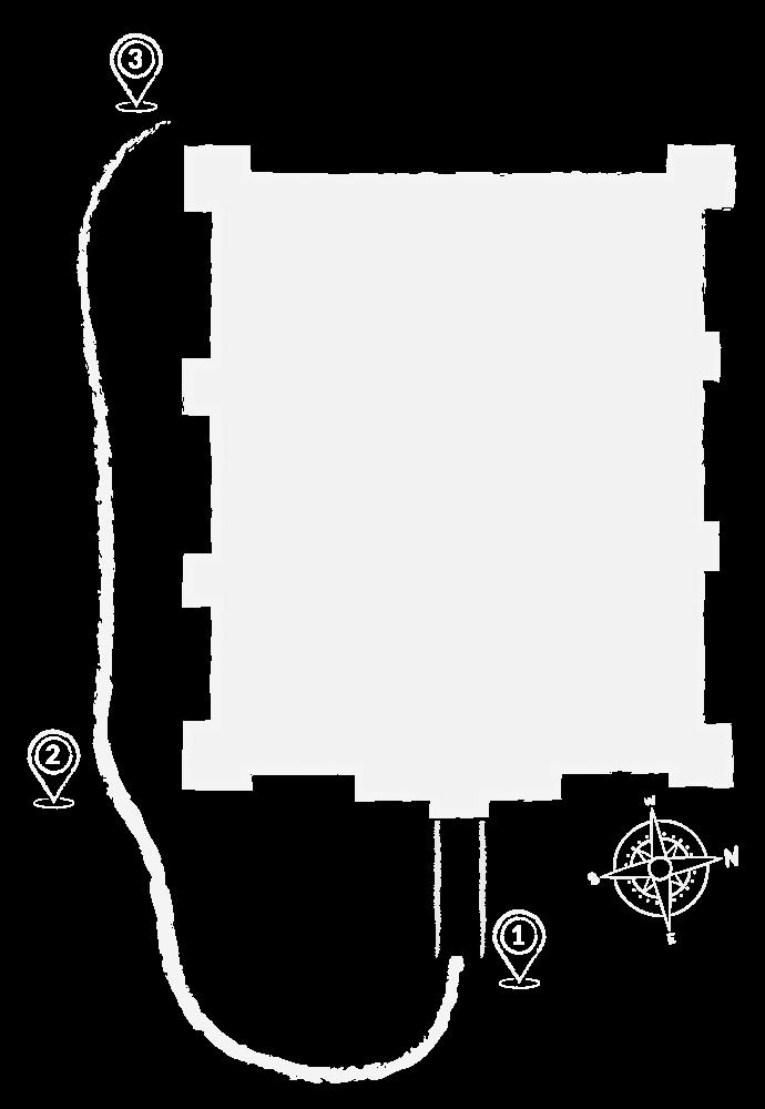 Rzut zamku ilustrujący mapę zwiedzania. Kontynuacja trasy: Punkt 1 oraz 2 znajdują przy dolnym lewym rogu zamku. Punkt nr 1 znajduje się na wschodniej ścianie zamku i symbolizuje most arkadowy. Punkt numer 2 znajduje się na południowo wschodnim rogu zamku.  Punkt 3 znajduje się na południowo zachodnim rogu zamku przy baszcie.
