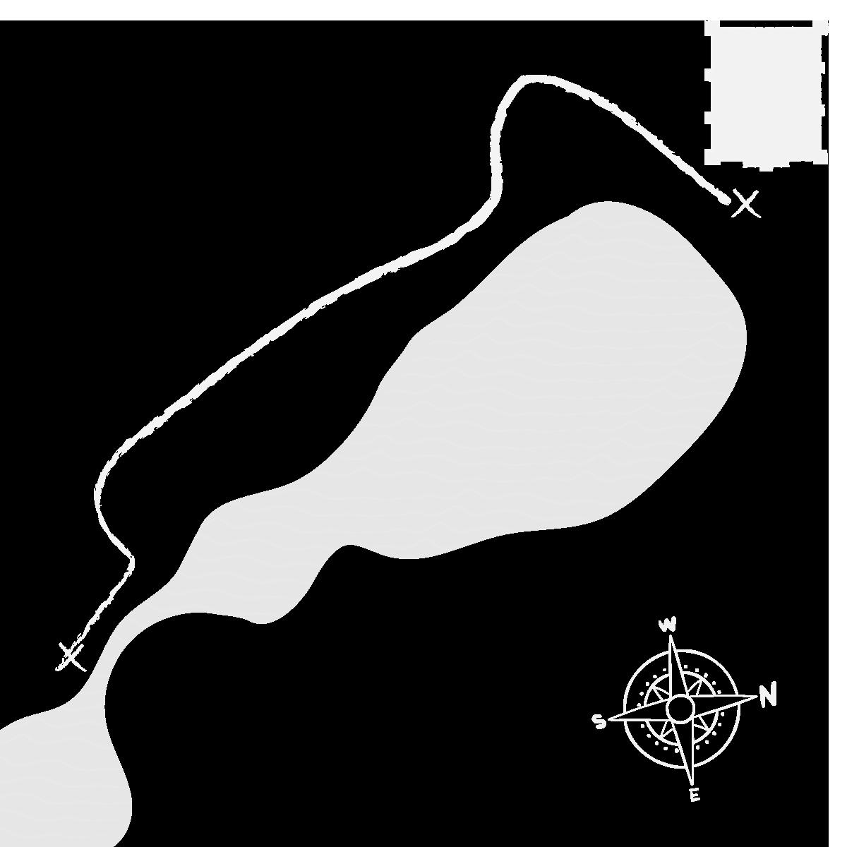Grafika przedstawia zarys jeziora szymbarskiego z oznaczeniem zamku przy jego północno wschodnim brzegu oraz wskazaniem punktu widokowego przy południowym krańcu.